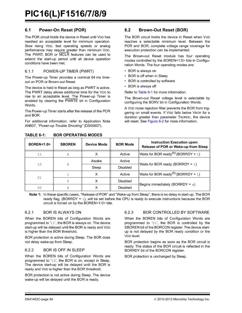 PIC16F1516-E/MV ,Microchip Technology厂商,MCU 14KB FLASH 512B RAM 28-UQFN, PIC16F1516-E/MV datasheet预览  第64页