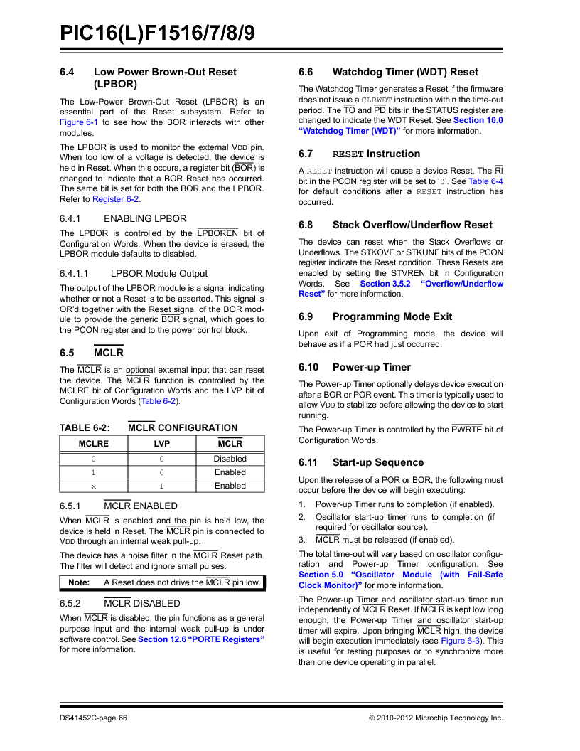 PIC16F1516-E/MV ,Microchip Technology厂商,MCU 14KB FLASH 512B RAM 28-UQFN, PIC16F1516-E/MV datasheet预览  第66页