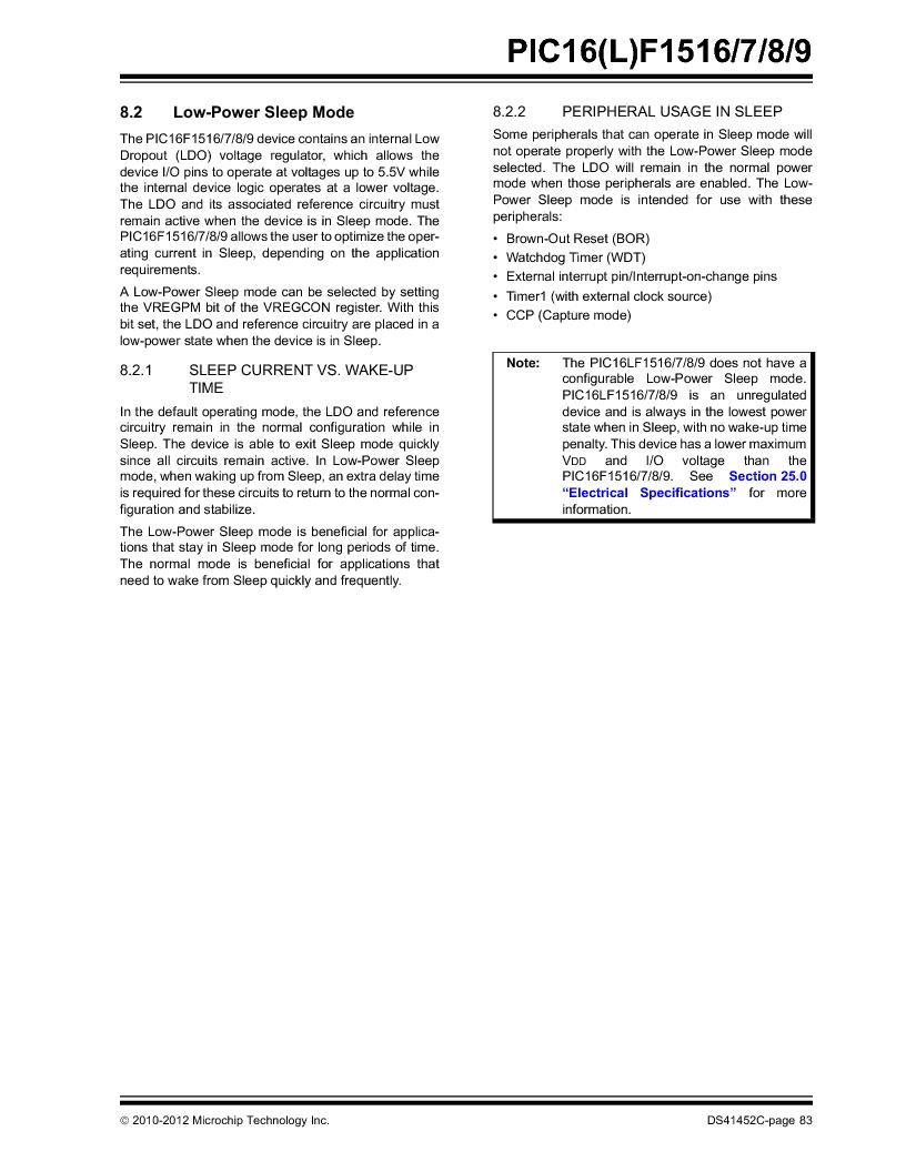 PIC16F1516-E/MV ,Microchip Technology厂商,MCU 14KB FLASH 512B RAM 28-UQFN, PIC16F1516-E/MV datasheet预览  第83页