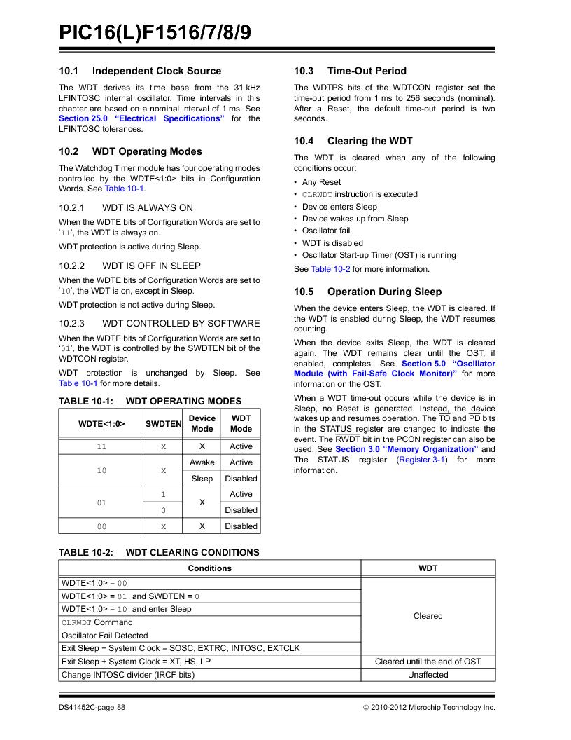 PIC16F1516-E/MV ,Microchip Technology厂商,MCU 14KB FLASH 512B RAM 28-UQFN, PIC16F1516-E/MV datasheet预览  第88页