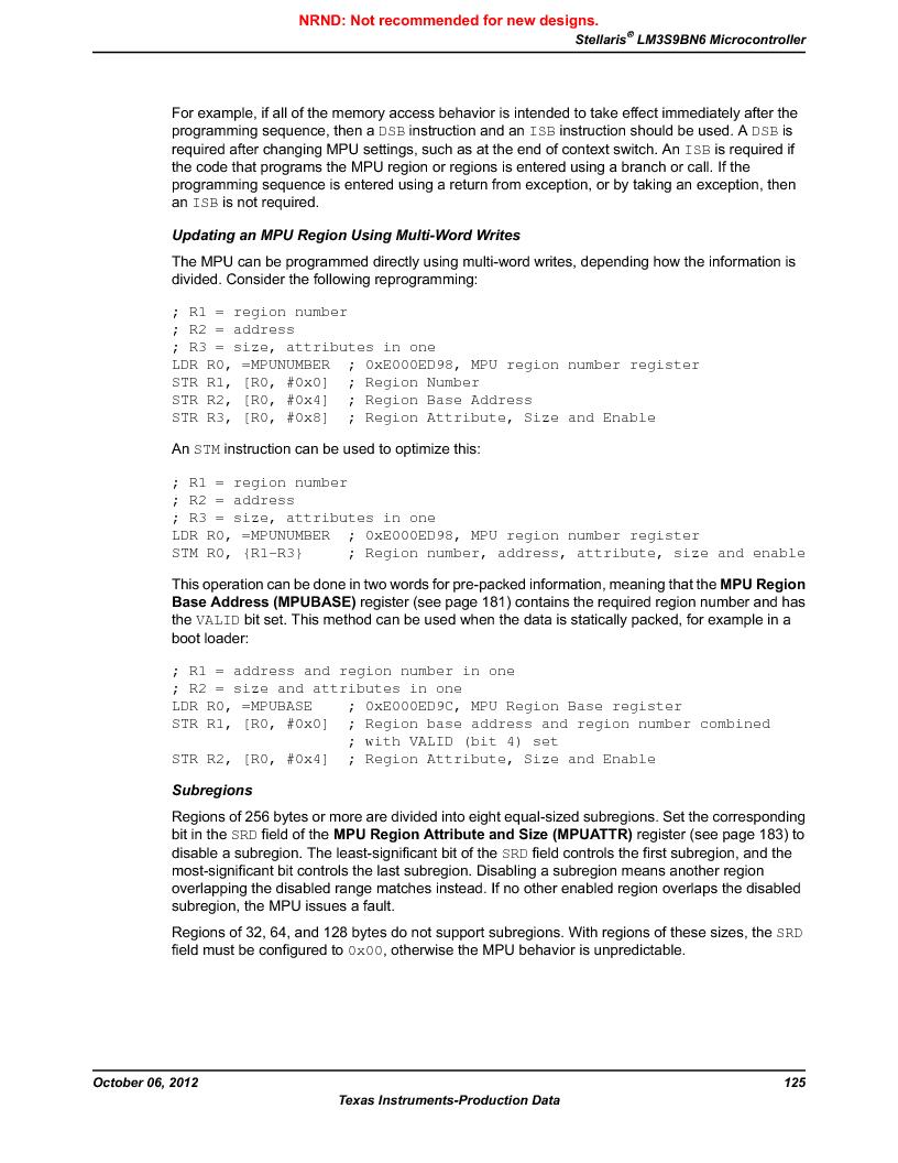 LM3S9BN6-IBZ80-C3T ,Texas Instruments厂商,IC ARM CORTEX MCU 256KB 108NFBGA, LM3S9BN6-IBZ80-C3T datasheet预览  第125页