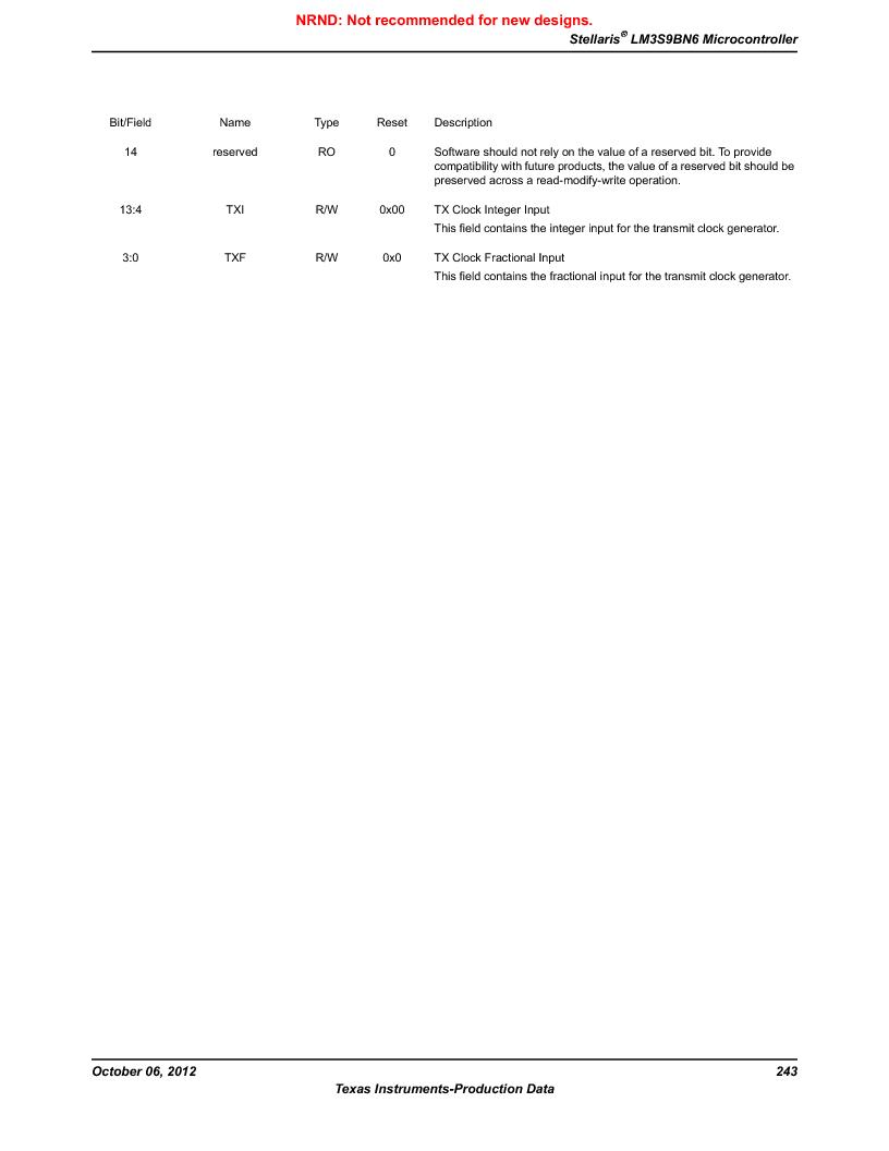 LM3S9BN6-IBZ80-C3T ,Texas Instruments厂商,IC ARM CORTEX MCU 256KB 108NFBGA, LM3S9BN6-IBZ80-C3T datasheet预览  第243页