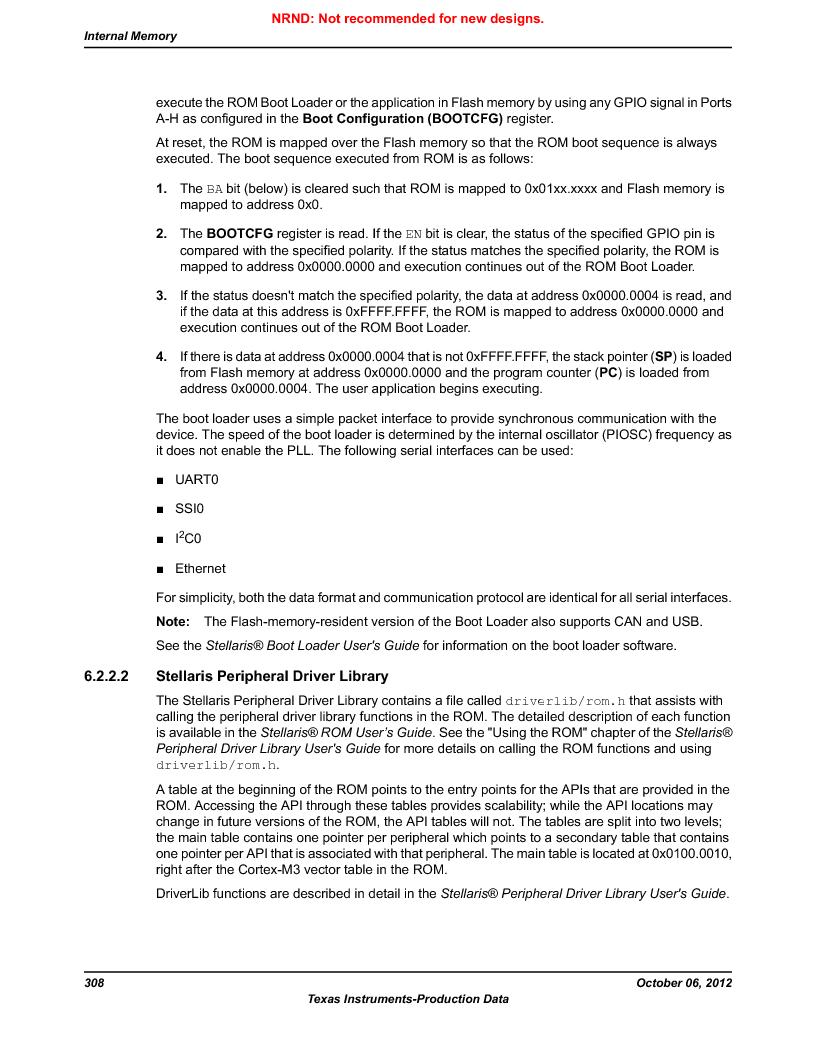 LM3S9BN6-IBZ80-C3T ,Texas Instruments厂商,IC ARM CORTEX MCU 256KB 108NFBGA, LM3S9BN6-IBZ80-C3T datasheet预览  第308页