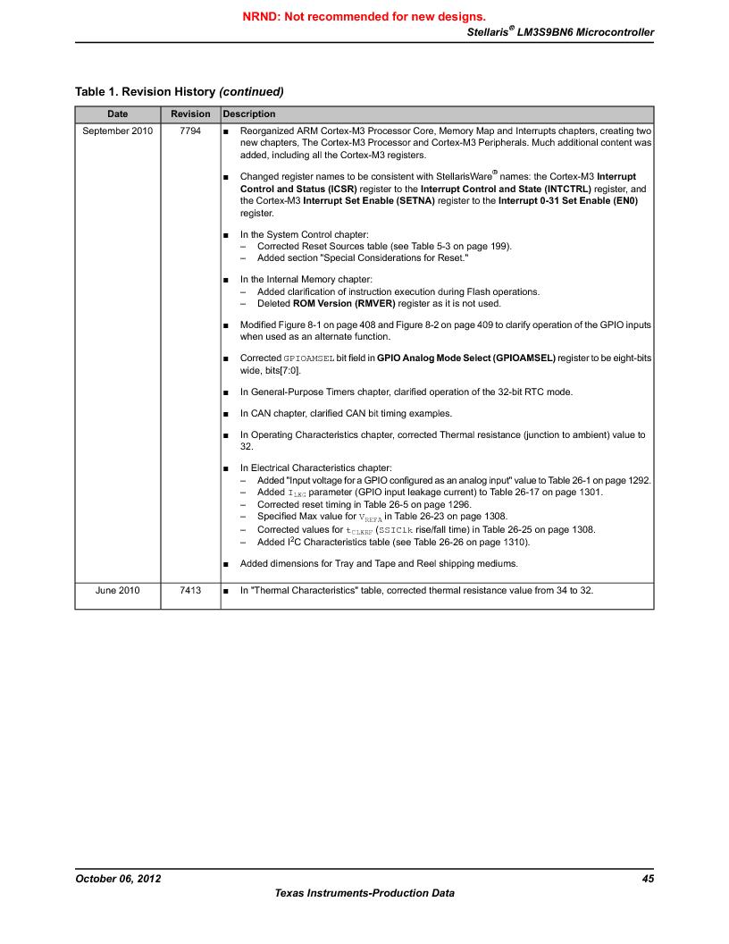 LM3S9BN6-IBZ80-C3T ,Texas Instruments厂商,IC ARM CORTEX MCU 256KB 108NFBGA, LM3S9BN6-IBZ80-C3T datasheet预览  第45页