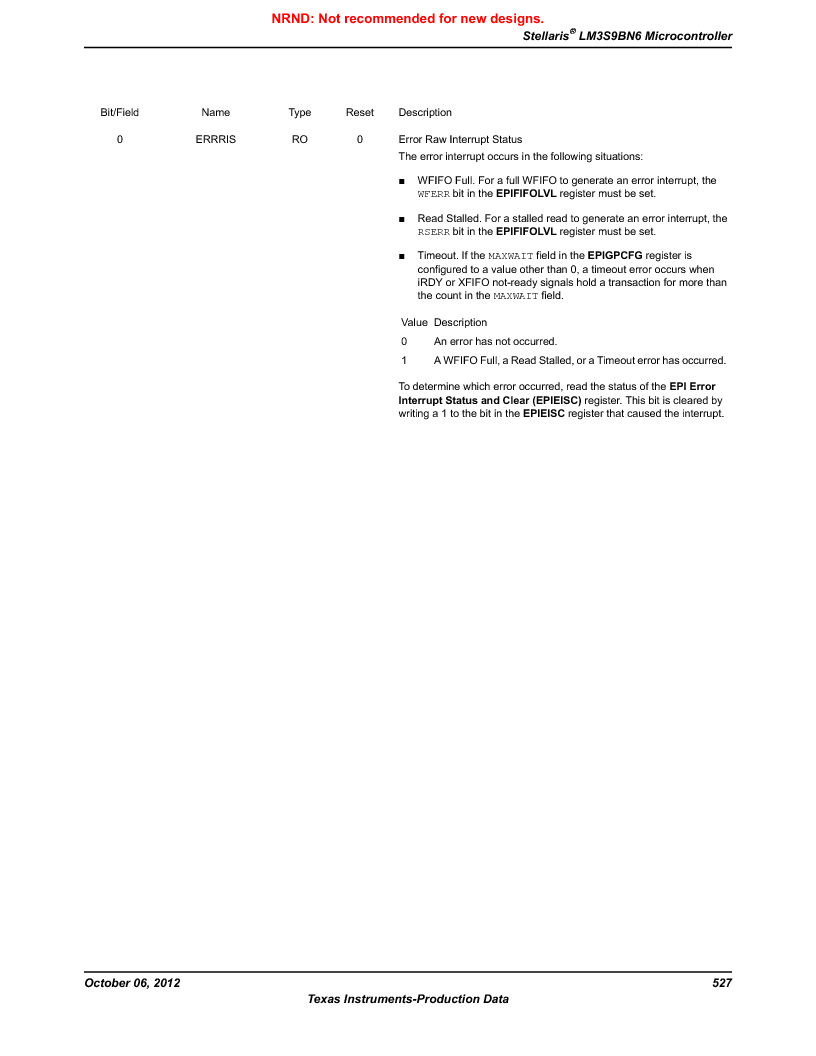 LM3S9BN6-IBZ80-C3T ,Texas Instruments厂商,IC ARM CORTEX MCU 256KB 108NFBGA, LM3S9BN6-IBZ80-C3T datasheet预览  第527页