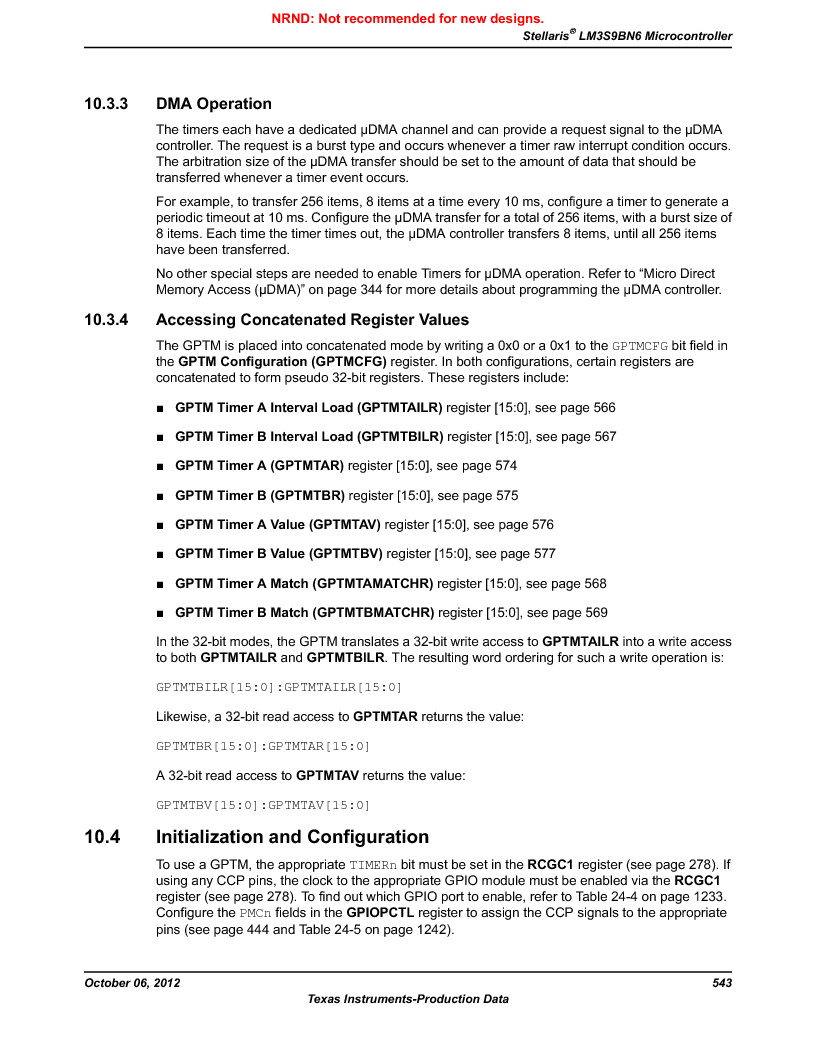 LM3S9BN6-IBZ80-C3T ,Texas Instruments厂商,IC ARM CORTEX MCU 256KB 108NFBGA, LM3S9BN6-IBZ80-C3T datasheet预览  第543页