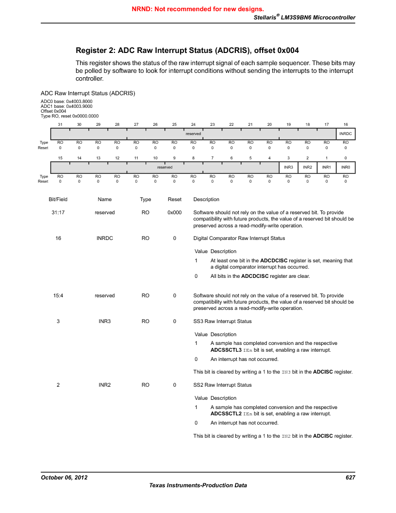LM3S9BN6-IBZ80-C3T ,Texas Instruments厂商,IC ARM CORTEX MCU 256KB 108NFBGA, LM3S9BN6-IBZ80-C3T datasheet预览  第627页