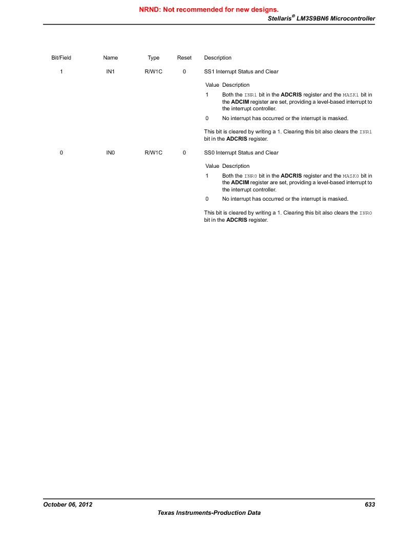 LM3S9BN6-IBZ80-C3T ,Texas Instruments厂商,IC ARM CORTEX MCU 256KB 108NFBGA, LM3S9BN6-IBZ80-C3T datasheet预览  第633页