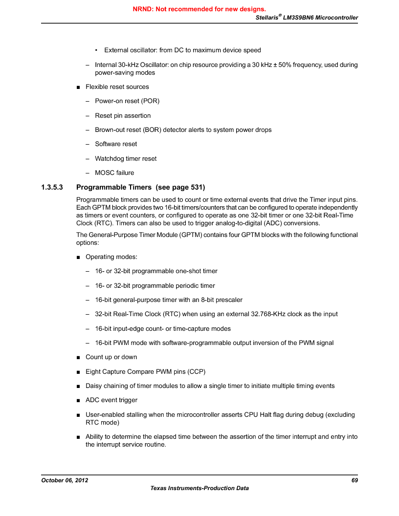 LM3S9BN6-IBZ80-C3T ,Texas Instruments厂商,IC ARM CORTEX MCU 256KB 108NFBGA, LM3S9BN6-IBZ80-C3T datasheet预览  第69页