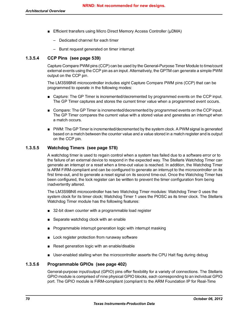 LM3S9BN6-IBZ80-C3T ,Texas Instruments厂商,IC ARM CORTEX MCU 256KB 108NFBGA, LM3S9BN6-IBZ80-C3T datasheet预览  第70页