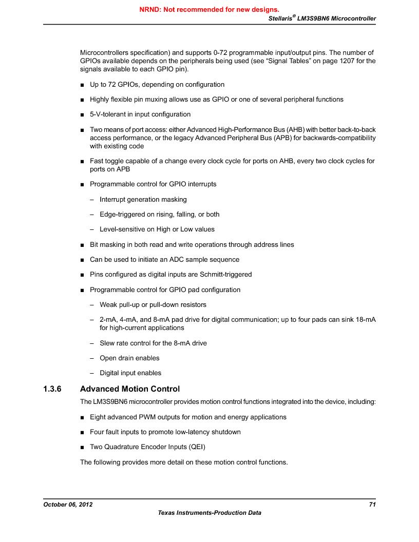 LM3S9BN6-IBZ80-C3T ,Texas Instruments厂商,IC ARM CORTEX MCU 256KB 108NFBGA, LM3S9BN6-IBZ80-C3T datasheet预览  第71页