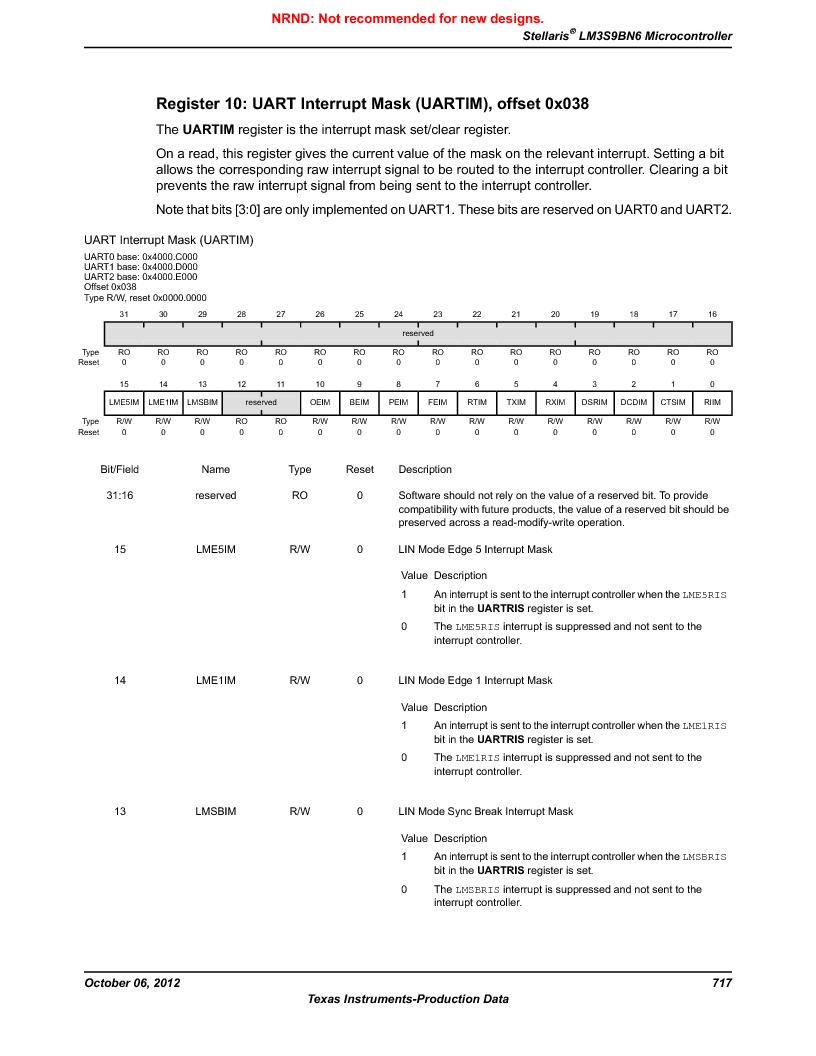LM3S9BN6-IBZ80-C3T ,Texas Instruments厂商,IC ARM CORTEX MCU 256KB 108NFBGA, LM3S9BN6-IBZ80-C3T datasheet预览  第717页