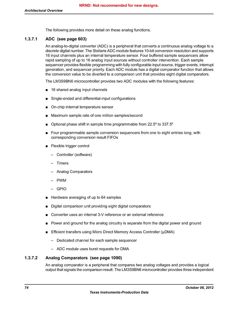 LM3S9BN6-IBZ80-C3T ,Texas Instruments厂商,IC ARM CORTEX MCU 256KB 108NFBGA, LM3S9BN6-IBZ80-C3T datasheet预览  第74页