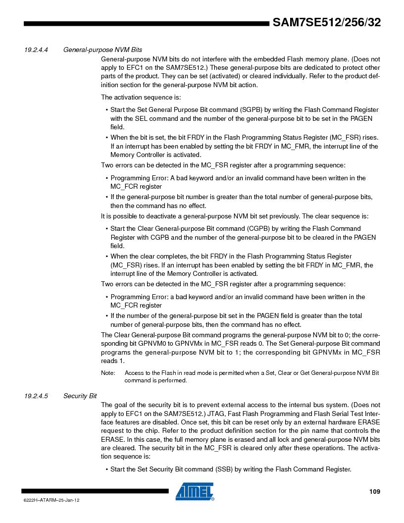 AT91SAM7SE256B-CUR ,Atmel厂商,IC ARM7 MCU FLASH 256K 128-LQFP, AT91SAM7SE256B-CUR datasheet预览  第109页
