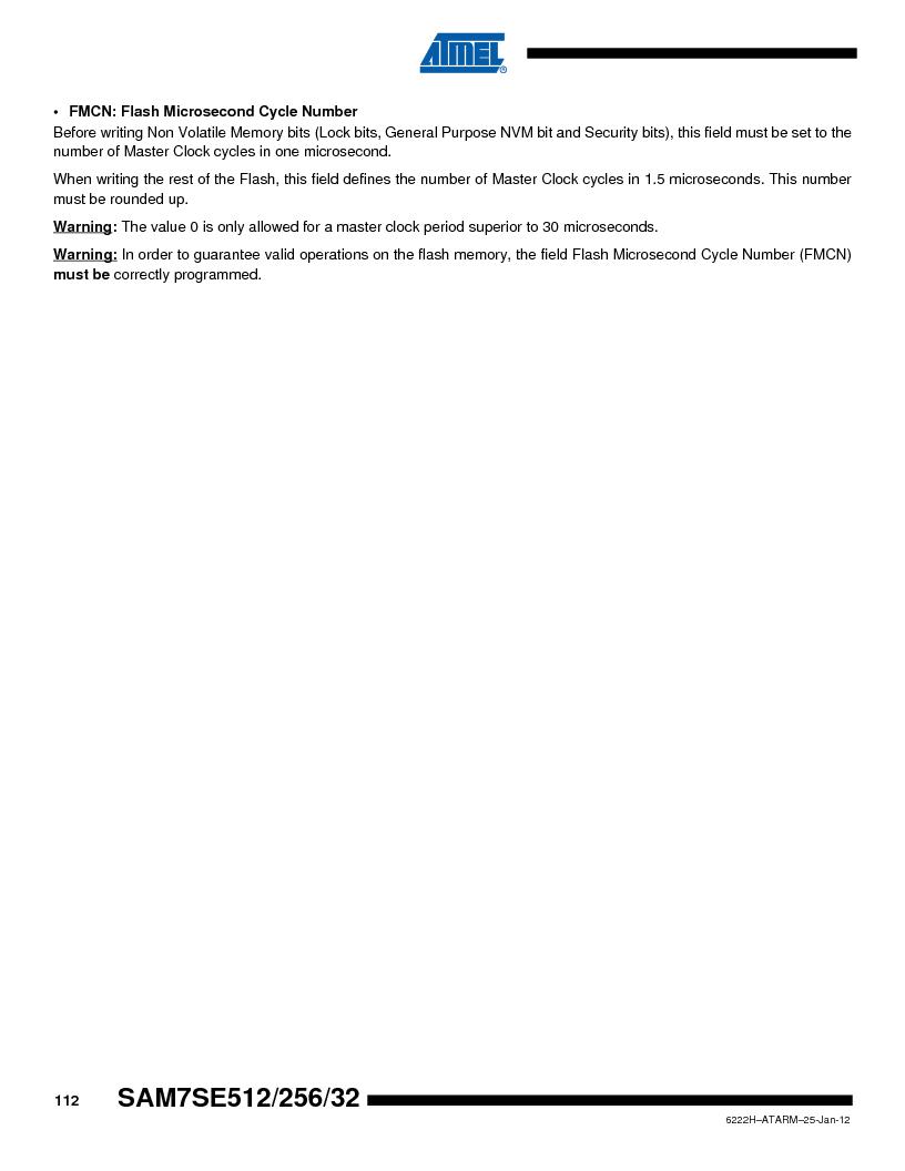 AT91SAM7SE256B-CUR ,Atmel厂商,IC ARM7 MCU FLASH 256K 128-LQFP, AT91SAM7SE256B-CUR datasheet预览  第112页