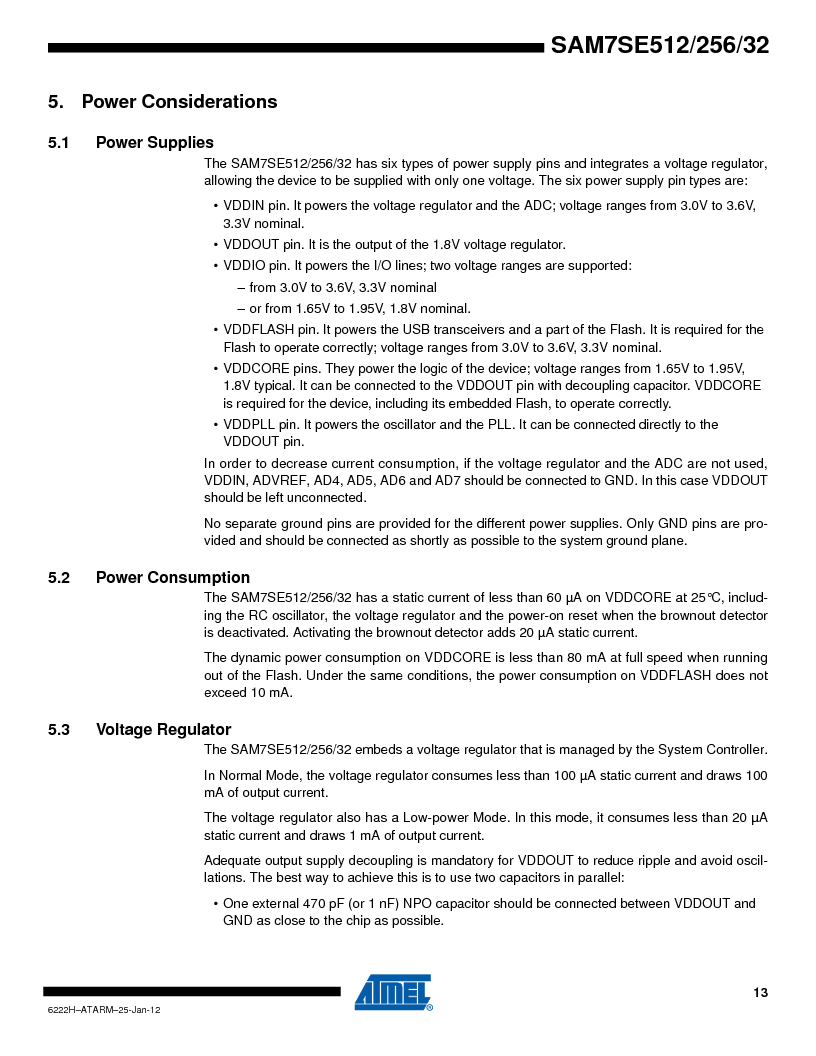 AT91SAM7SE256B-CUR ,Atmel厂商,IC ARM7 MCU FLASH 256K 128-LQFP, AT91SAM7SE256B-CUR datasheet预览  第13页