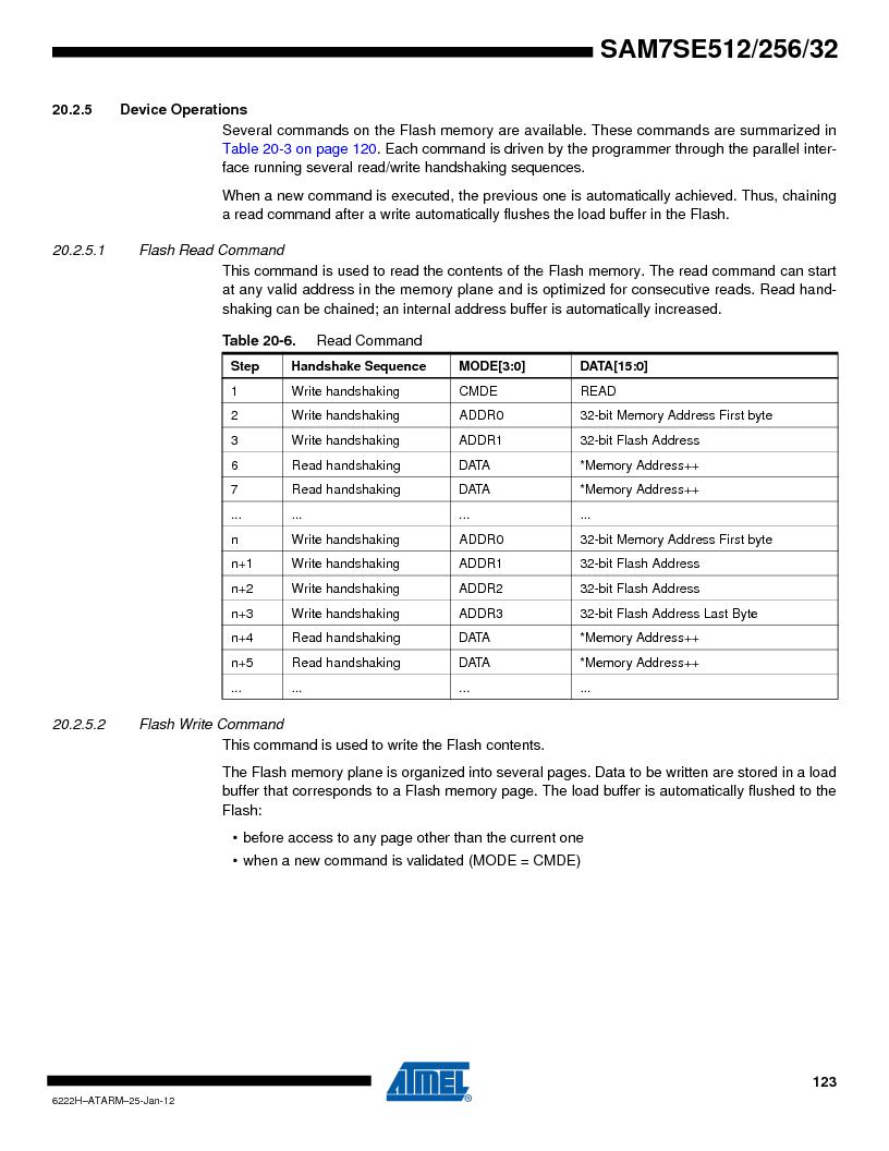 AT91SAM7SE256B-CUR ,Atmel厂商,IC ARM7 MCU FLASH 256K 128-LQFP, AT91SAM7SE256B-CUR datasheet预览  第123页