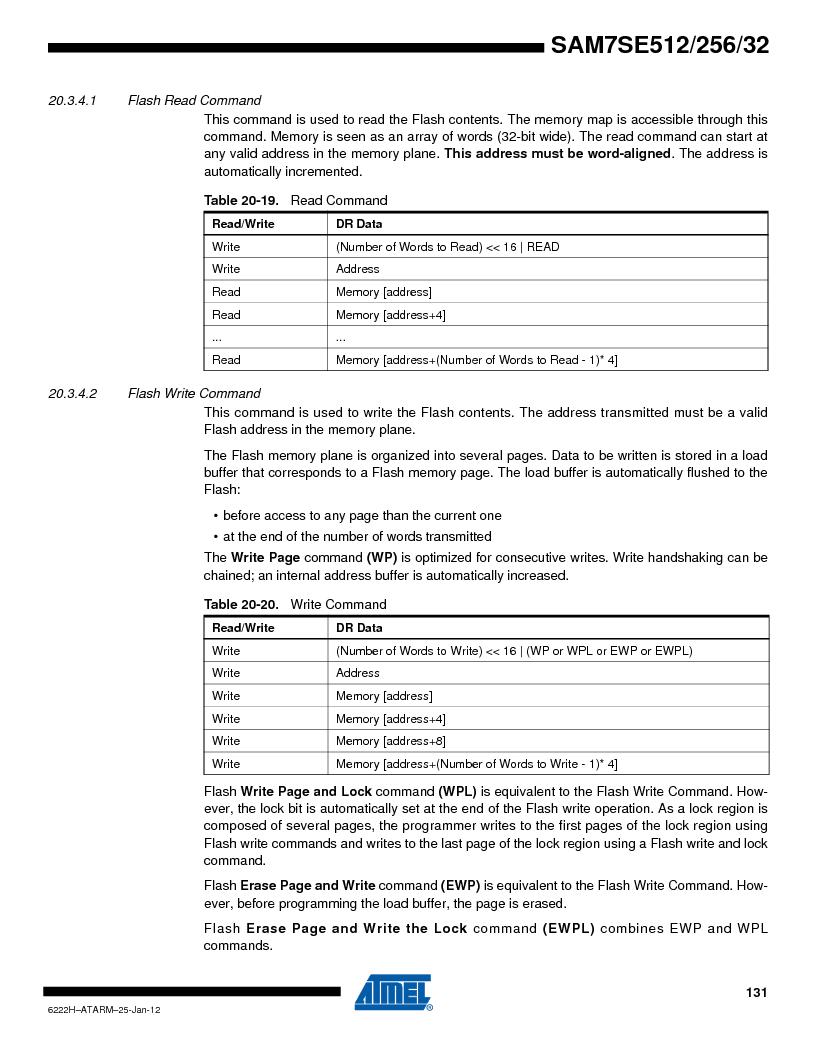 AT91SAM7SE256B-CUR ,Atmel厂商,IC ARM7 MCU FLASH 256K 128-LQFP, AT91SAM7SE256B-CUR datasheet预览  第131页