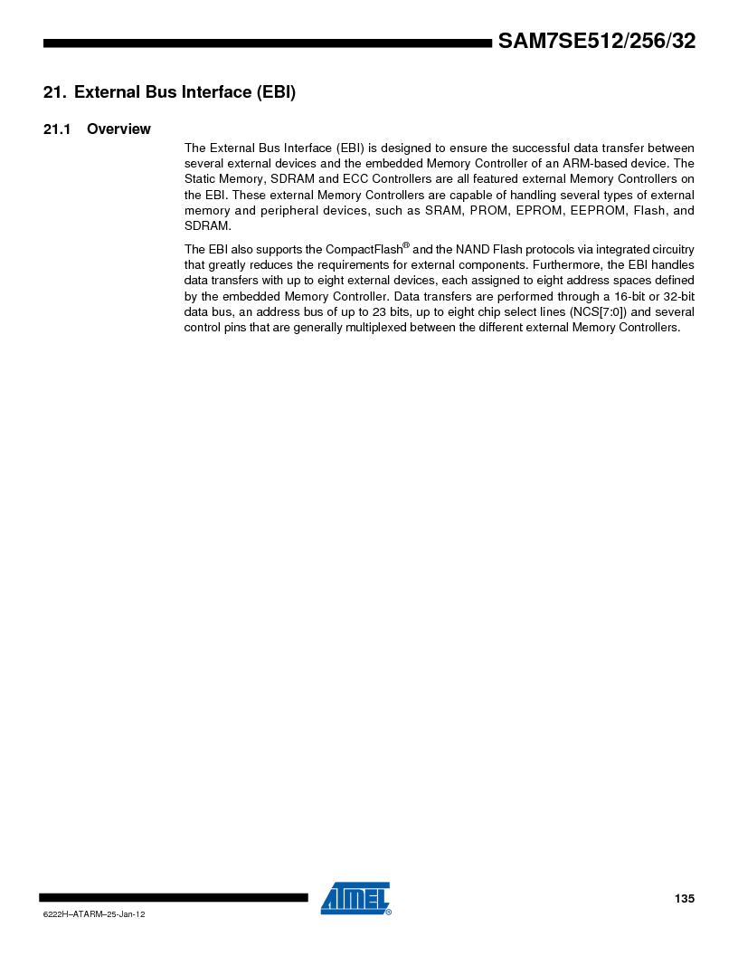 AT91SAM7SE256B-CUR ,Atmel厂商,IC ARM7 MCU FLASH 256K 128-LQFP, AT91SAM7SE256B-CUR datasheet预览  第135页