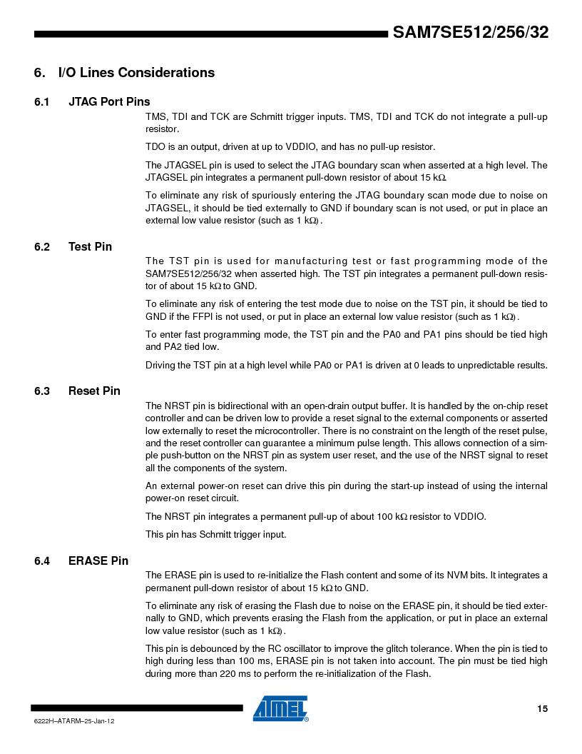 AT91SAM7SE256B-CUR ,Atmel厂商,IC ARM7 MCU FLASH 256K 128-LQFP, AT91SAM7SE256B-CUR datasheet预览  第15页