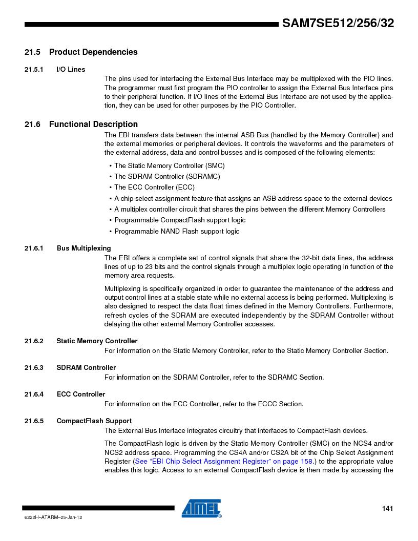 AT91SAM7SE256B-CUR ,Atmel厂商,IC ARM7 MCU FLASH 256K 128-LQFP, AT91SAM7SE256B-CUR datasheet预览  第141页