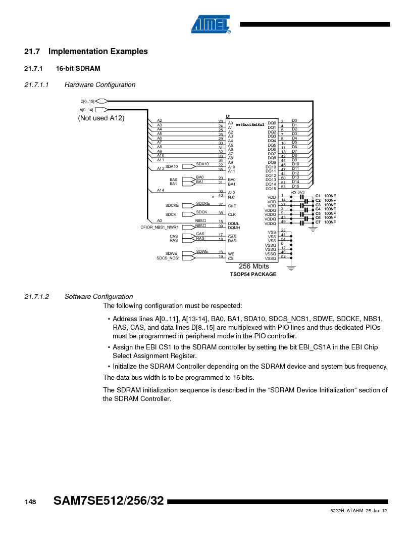 AT91SAM7SE256B-CUR ,Atmel厂商,IC ARM7 MCU FLASH 256K 128-LQFP, AT91SAM7SE256B-CUR datasheet预览  第148页