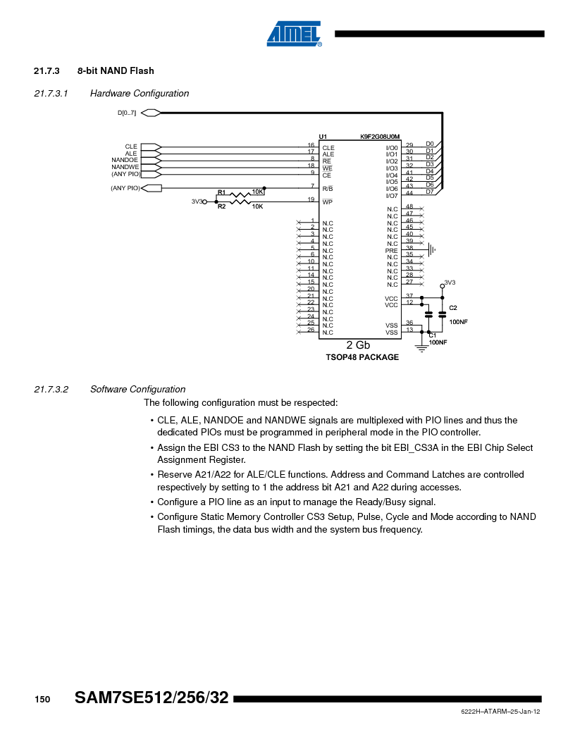 AT91SAM7SE256B-CUR ,Atmel厂商,IC ARM7 MCU FLASH 256K 128-LQFP, AT91SAM7SE256B-CUR datasheet预览  第150页