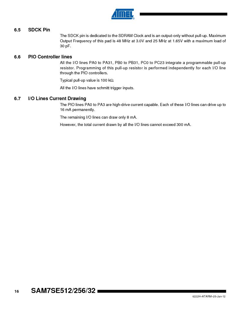 AT91SAM7SE256B-CUR ,Atmel厂商,IC ARM7 MCU FLASH 256K 128-LQFP, AT91SAM7SE256B-CUR datasheet预览  第16页