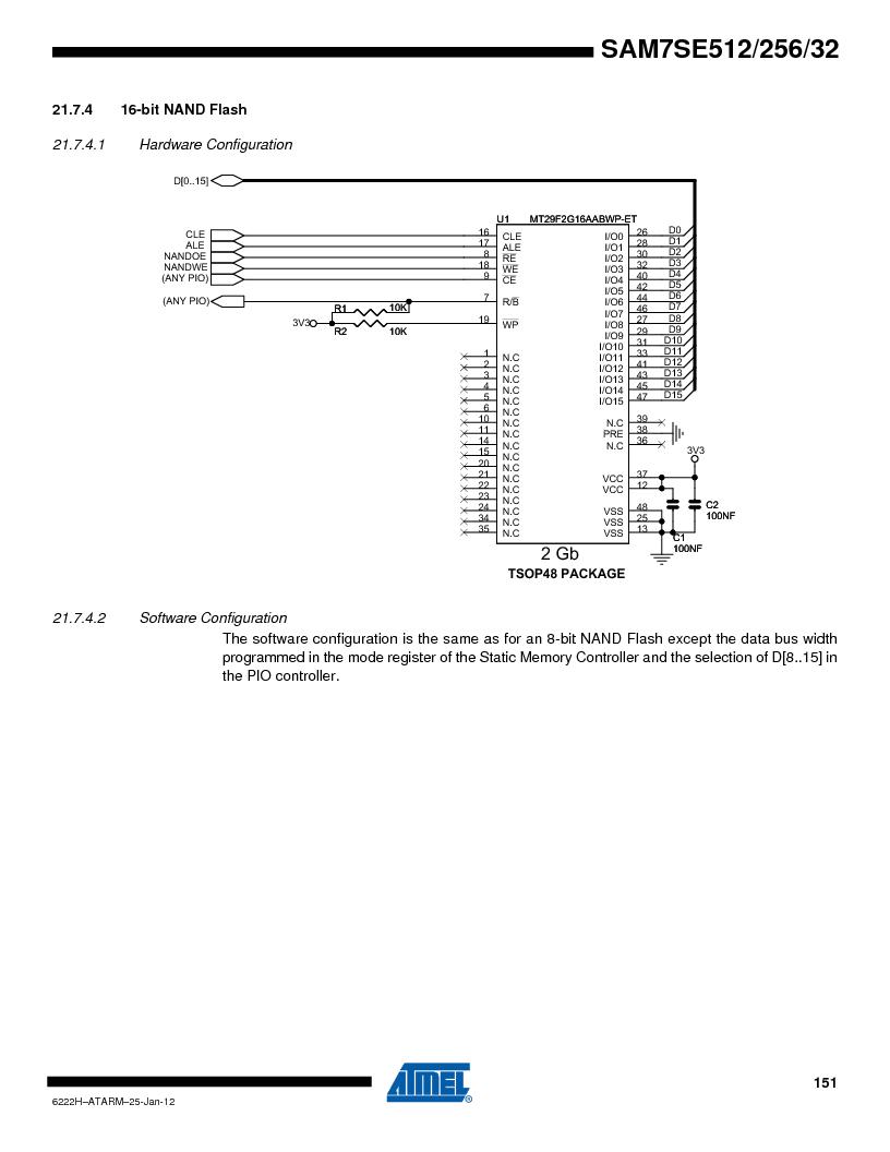 AT91SAM7SE256B-CUR ,Atmel厂商,IC ARM7 MCU FLASH 256K 128-LQFP, AT91SAM7SE256B-CUR datasheet预览  第151页