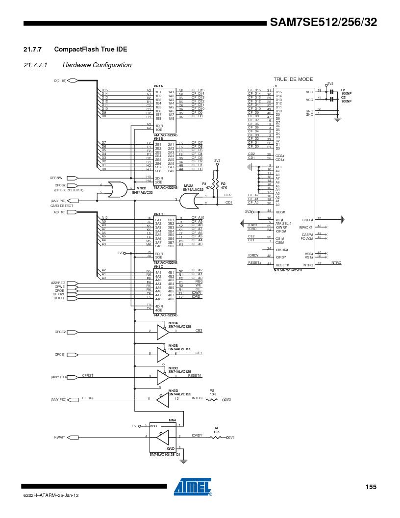 AT91SAM7SE256B-CUR ,Atmel厂商,IC ARM7 MCU FLASH 256K 128-LQFP, AT91SAM7SE256B-CUR datasheet预览  第155页