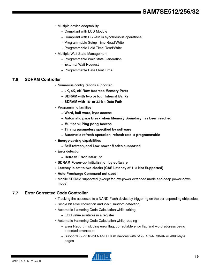 AT91SAM7SE256B-CUR ,Atmel厂商,IC ARM7 MCU FLASH 256K 128-LQFP, AT91SAM7SE256B-CUR datasheet预览  第19页