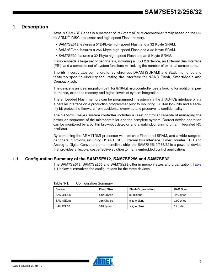 AT91SAM7SE256B-CUR ,Atmel厂商,IC ARM7 MCU FLASH 256K 128-LQFP, AT91SAM7SE256B-CUR datasheet预览  第3页