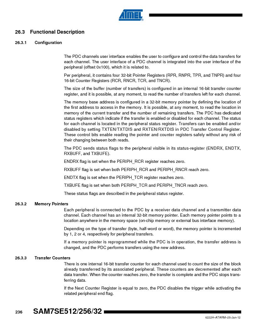 AT91SAM7SE256B-CUR ,Atmel厂商,IC ARM7 MCU FLASH 256K 128-LQFP, AT91SAM7SE256B-CUR datasheet预览  第236页
