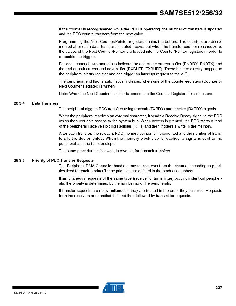 AT91SAM7SE256B-CUR ,Atmel厂商,IC ARM7 MCU FLASH 256K 128-LQFP, AT91SAM7SE256B-CUR datasheet预览  第237页
