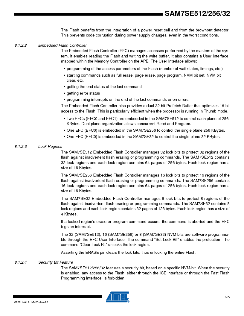 AT91SAM7SE256B-CUR ,Atmel厂商,IC ARM7 MCU FLASH 256K 128-LQFP, AT91SAM7SE256B-CUR datasheet预览  第25页