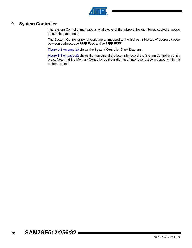 AT91SAM7SE256B-CUR ,Atmel厂商,IC ARM7 MCU FLASH 256K 128-LQFP, AT91SAM7SE256B-CUR datasheet预览  第28页
