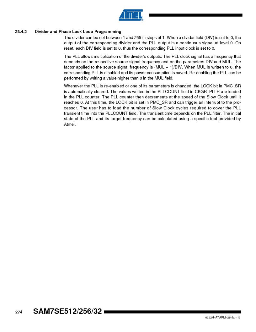 AT91SAM7SE256B-CUR ,Atmel厂商,IC ARM7 MCU FLASH 256K 128-LQFP, AT91SAM7SE256B-CUR datasheet预览  第274页