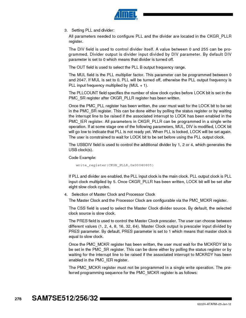 AT91SAM7SE256B-CUR ,Atmel厂商,IC ARM7 MCU FLASH 256K 128-LQFP, AT91SAM7SE256B-CUR datasheet预览  第278页