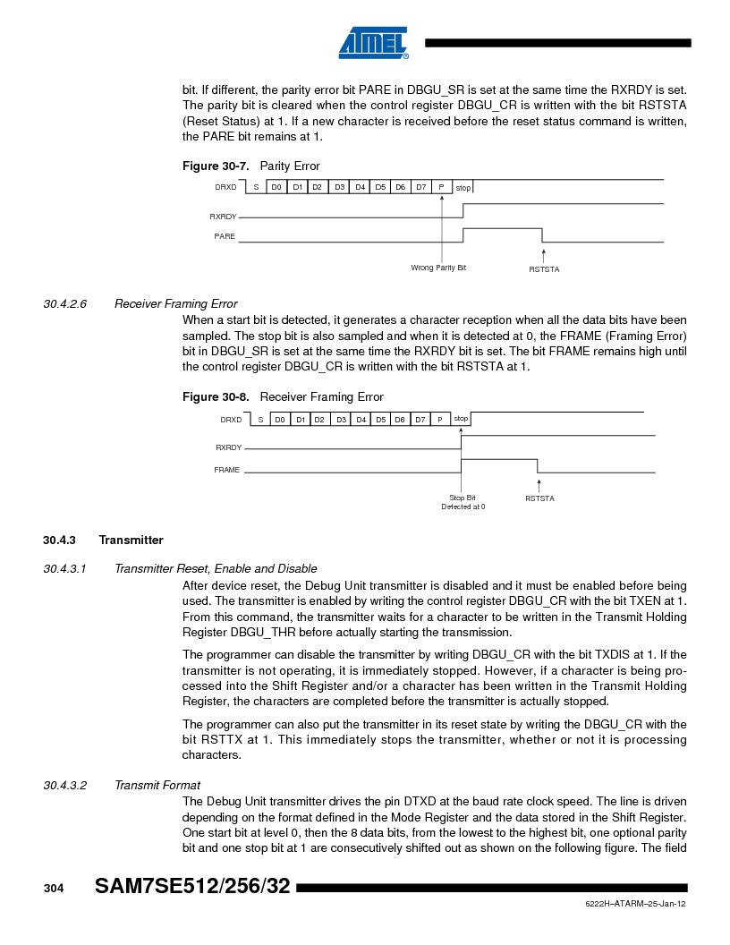 AT91SAM7SE256B-CUR ,Atmel厂商,IC ARM7 MCU FLASH 256K 128-LQFP, AT91SAM7SE256B-CUR datasheet预览  第304页