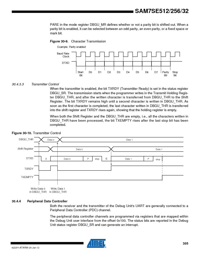 AT91SAM7SE256B-CUR ,Atmel厂商,IC ARM7 MCU FLASH 256K 128-LQFP, AT91SAM7SE256B-CUR datasheet预览  第305页
