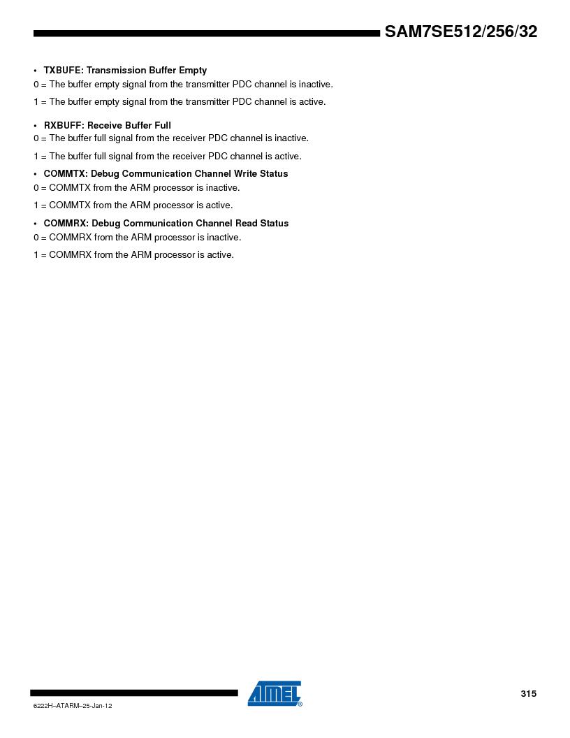 AT91SAM7SE256B-CUR ,Atmel厂商,IC ARM7 MCU FLASH 256K 128-LQFP, AT91SAM7SE256B-CUR datasheet预览  第315页