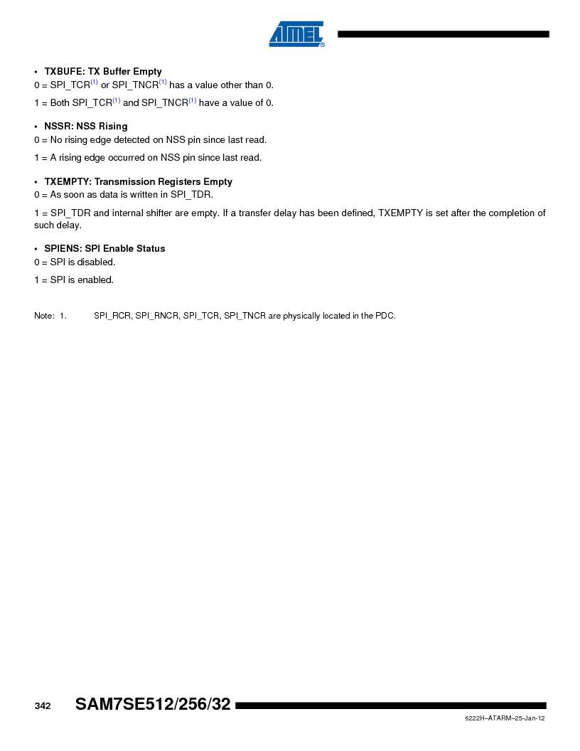 AT91SAM7SE256B-CUR ,Atmel厂商,IC ARM7 MCU FLASH 256K 128-LQFP, AT91SAM7SE256B-CUR datasheet预览  第342页