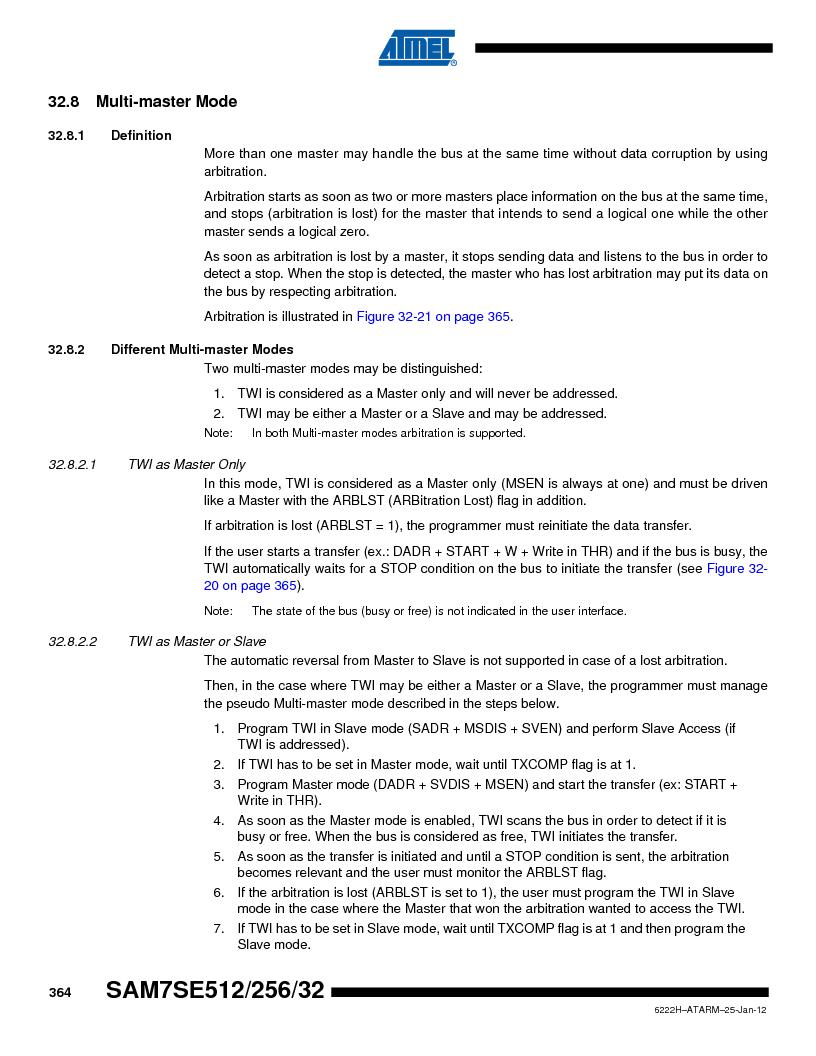 AT91SAM7SE256B-CUR ,Atmel厂商,IC ARM7 MCU FLASH 256K 128-LQFP, AT91SAM7SE256B-CUR datasheet预览  第364页