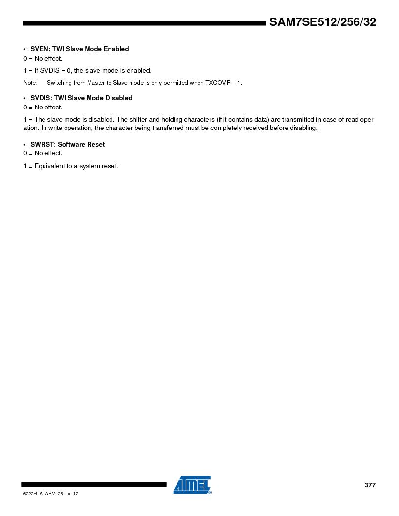 AT91SAM7SE256B-CUR ,Atmel厂商,IC ARM7 MCU FLASH 256K 128-LQFP, AT91SAM7SE256B-CUR datasheet预览  第377页
