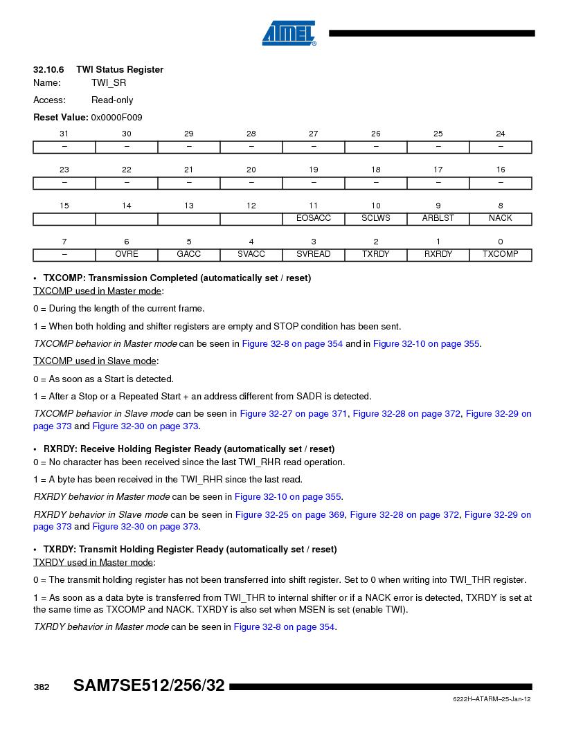 AT91SAM7SE256B-CUR ,Atmel厂商,IC ARM7 MCU FLASH 256K 128-LQFP, AT91SAM7SE256B-CUR datasheet预览  第382页