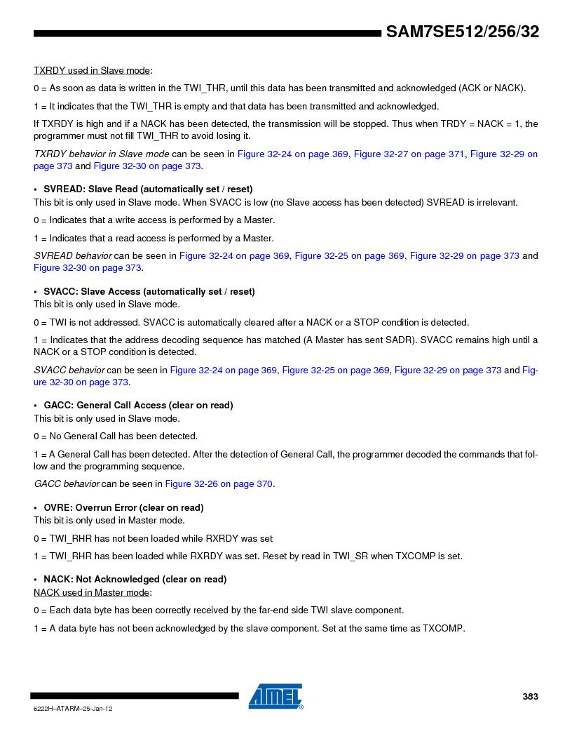 AT91SAM7SE256B-CUR ,Atmel厂商,IC ARM7 MCU FLASH 256K 128-LQFP, AT91SAM7SE256B-CUR datasheet预览  第383页