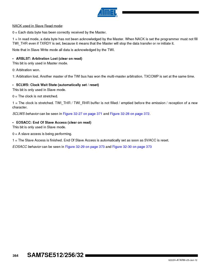 AT91SAM7SE256B-CUR ,Atmel厂商,IC ARM7 MCU FLASH 256K 128-LQFP, AT91SAM7SE256B-CUR datasheet预览  第384页
