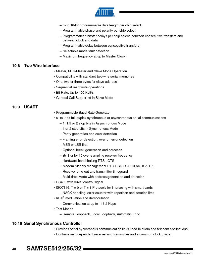 AT91SAM7SE256B-CUR ,Atmel厂商,IC ARM7 MCU FLASH 256K 128-LQFP, AT91SAM7SE256B-CUR datasheet预览  第40页
