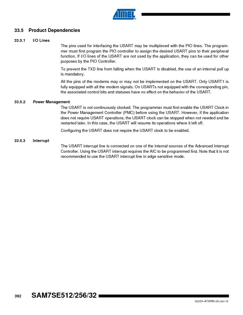 AT91SAM7SE256B-CUR ,Atmel厂商,IC ARM7 MCU FLASH 256K 128-LQFP, AT91SAM7SE256B-CUR datasheet预览  第392页