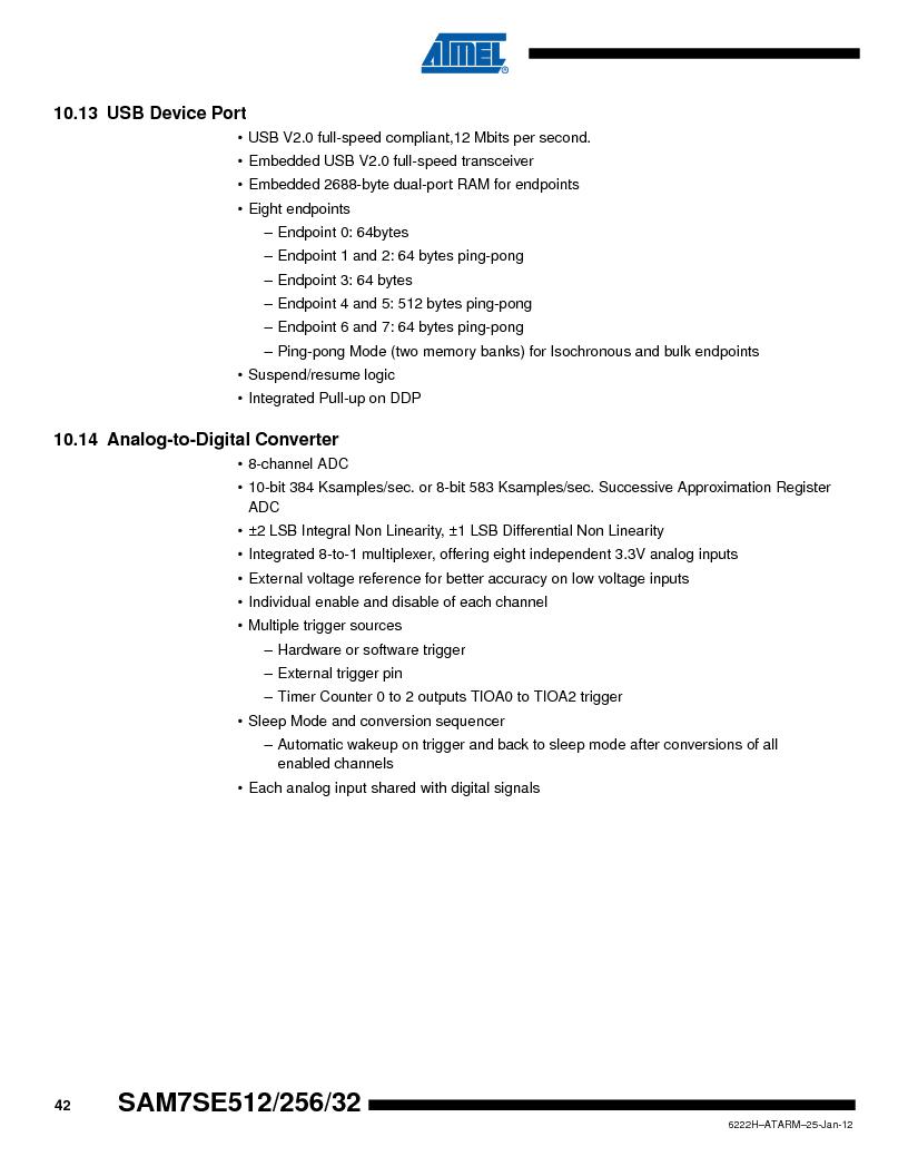 AT91SAM7SE256B-CUR ,Atmel厂商,IC ARM7 MCU FLASH 256K 128-LQFP, AT91SAM7SE256B-CUR datasheet预览  第42页
